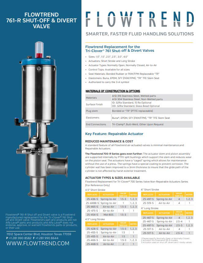 Product Sheets, Flowtrend 761-R Shut-Off and Divert Valve