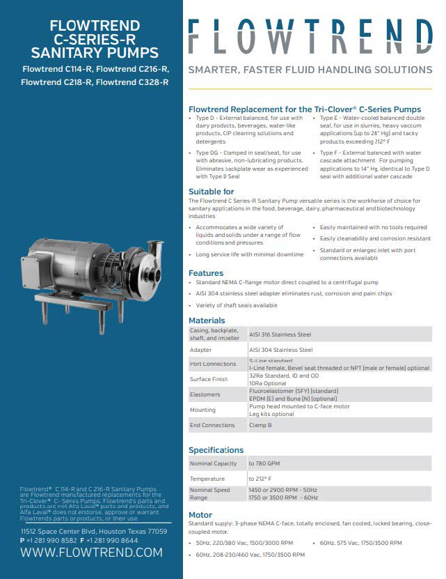 Product Sheets, Flowtrend C Series-R Sanitary Pumps