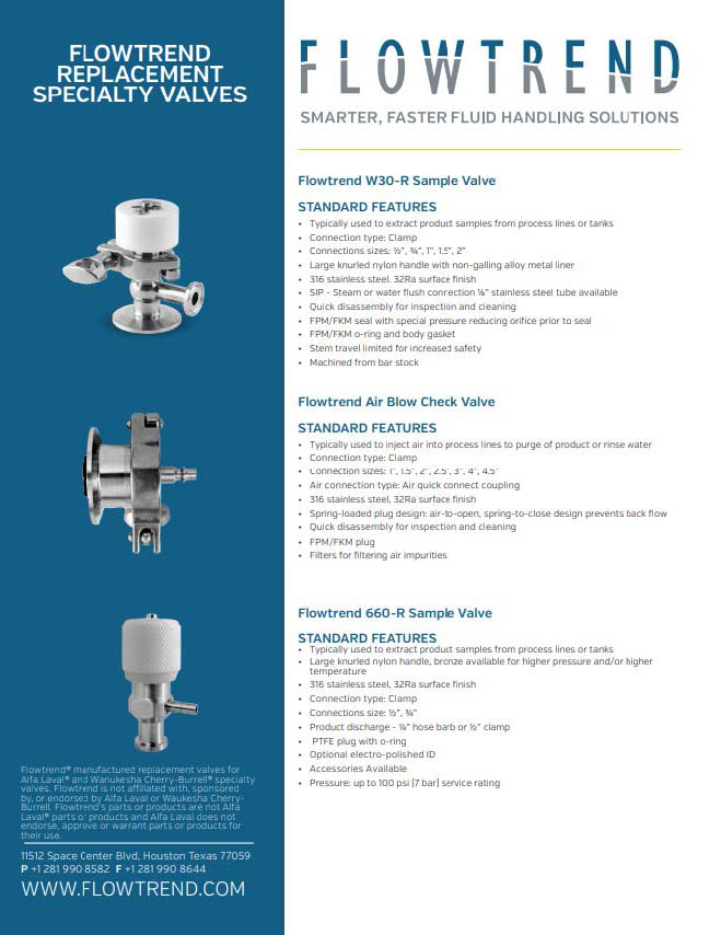 Product Sheets, Specialty Valves